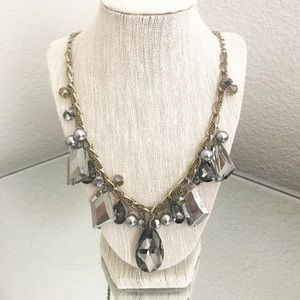 Long Silver Statement Necklace